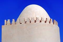Morocco, Marrakech: Hamsala. Morocco, Marrakesh: Hamsala, blue sky and white mosque dome stock photo