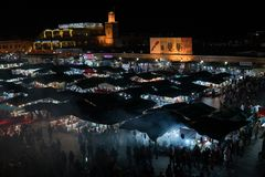 MOROCCO - MARRAKECH JAN 2019: Night view of Djemaa el Fna, a square and market place in Marrakesh medina quarter stock photos