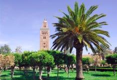 Morocco, Marrakech: the Koutoubia. Morocco, Marrakesh: view of the Koutoubia stock photos
