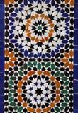 Morocco Marrakesh Arabesque wall tiles. Morocco Marrakesh Typical old colorful Arabesque - Mauresque glazed ceramic wall tiles Stock Photos