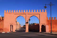 Morocco Marrakesh Medina gate next to Bab Agnaou. Morocco Marrakesh double city gates and city wall in the Royal Palace area royalty free stock images