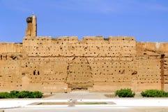 Morocco, Marrakesh: Badi palace. With blue sky stock image