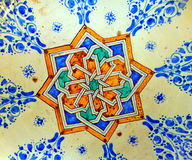 Morocco, Marrakesh: decoration on ceramic. Morocco, Marrakesh: traditional blue, green and yellow geometrical decoration on ceramic royalty free stock photo