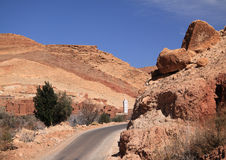 Morocco, Marrakesh, Narrow road, High Atlas Mountains Stock Photos