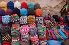 Morocco Marrakesh medina - typical colorful knitted Moroccan hat Royalty Free Stock Photos