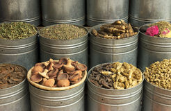Morocco Marrakesh Spices, herbs and dried rosebuds Royalty Free Stock Photography