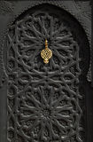 Morocco Marrakesh typical old black arabesque door royalty free stock images