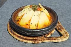 Morocco national dish - tajine. Of meet with vegetables Stock Image