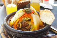 Morocco national dish - tajine. Of meet with vegetables Royalty Free Stock Image