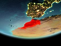Morocco at night on Earth. Morocco from orbit of planet Earth at night with highly detailed surface textures. 3D illustration. Elements of this image furnished royalty free stock image
