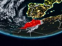 Morocco during night. Morocco on Earth at night with visible country borders. 3D illustration. Elements of this image furnished by NASA stock photography