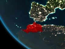 Morocco at night from orbit. Morocco from orbit of planet Earth at night with highly detailed surface textures. 3D illustration. Elements of this image furnished royalty free stock photography