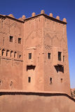 Morocco Ouarzazate Kasbah tower. Morocco Ouarzazate Medieval Kasbah fort tower built in adobe decorated with islamic patterns royalty free stock images
