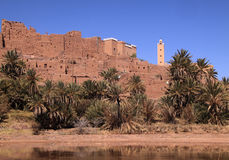Morocco, Ouarzazate, Tifoultout Kasbah. Morocco Ouarzazate - Tifoultout medieval Kasbah built in adobe overlooking the River Draa royalty free stock photos