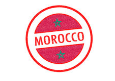 MOROCCO. Passport-style MOROCCO rubber stamp over a white background Stock Photos
