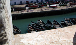 Morocco Port with small fishing boats Royalty Free Stock Photography