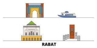 Morocco, Rabat flat landmarks vector illustration. Morocco, Rabat line city with famous travel sights, skyline, design. Morocco, Rabat flat landmarks vector royalty free illustration