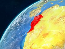 Morocco on Earth with borders. Morocco on realistic model of planet Earth with country borders and very detailed planet surface and clouds. 3D illustration stock photography