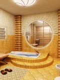 Morocco's style bathroom interioor. 3d rendering of the bathroom interior in Morocco's style royalty free illustration