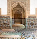 Morocco the Saadian tombs in Marrakech. Morocco: architecture detail at the Saadian tombs in Marrakech. The Saadian tombs in Marrakech date back from the time of stock photography