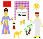The morocco set. Set in the style of a flat design on the theme of morocco Stock Photo