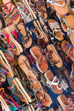 Morocco shop selling leather footwear Royalty Free Stock Photography