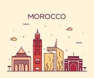 Morocco skyline trendy vector illustration linear. Morocco skyline detailed silhouette Trendy vector illustration linear style Stock Photo