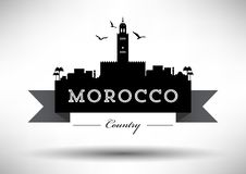 Morocco Skyline with Typography Design stock illustration