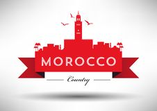 Morocco Skyline with Typography Design vector illustration