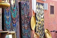 Morocco souvenirs in medina. Marrakech. Morocco Royalty Free Stock Photos
