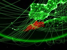 Morocco from space with network. Morocco on green model of planet Earth with network representing green age, travel and communication. 3D illustration. Elements stock images