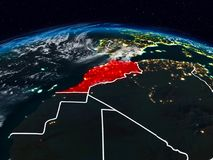 Morocco at night. Morocco from space at night on Earth with visible country borders. 3D illustration. Elements of this image furnished by NASA royalty free stock photography