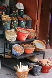 Morocco spice baskets. Morocco spice market,decorated  baskets with spices Stock Photo