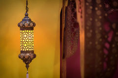 Morocco style lamp. Inside a moroccan interior bedroom at night Royalty Free Stock Images