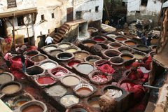 Morocco tannery Royalty Free Stock Images