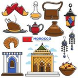 Morocco tourism travel famous symbols and tourist Morrocan landmarks vector icons Stock Images