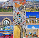 Morocco travel collage. Set of images from Fes and Chefchaouen. Morocco travel collage. Set of colorful images from Fes and Chefchaouen Stock Image