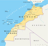 Morocco And Western Sahara Map. Hand drawn map of Morocco and Western Sahara with the capitals Rabat and El Aiun, with national borders, most important cities Royalty Free Stock Photography