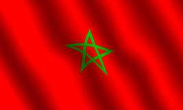 Moroccon flag. Flag of Morocco. With waving effect Stock Images
