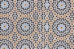 Moroccon geometriskt tegelplattaarbete i Fez, Marocko Arkivfoton