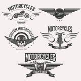 Morocycle logo set. Vintage custom motorcycle racer stars logo set isolated on white background Stock Images