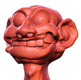 Moron. 3D rendered illustration of an idiotic, grotesque caricature head, smiling foolisly royalty free illustration