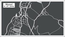 Moroni Comoros City Map im Retrostil Antilocapra Americana stock abbildung
