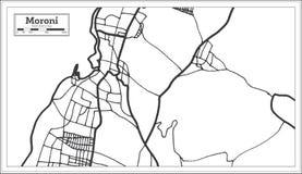Moroni Comoros Map en color blanco y negro Ilustraci?n del vector