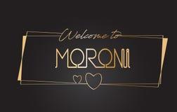 Moroni Welcome goldener Text zur beschriftenden Typografie-Vektor-Neonillustration stock abbildung