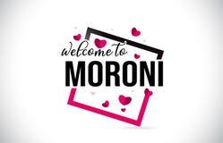 Moroni Welcome To Word Text mit handgeschriebenem Guss und rote Herzen quadrieren vektor abbildung