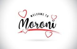 Moroni Welcome To Word Text mit handgeschriebenem Guss und roter Liebe H lizenzfreie abbildung