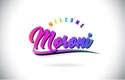 Moroni Welcome To Word Text mit kreativem purpurrotem rosa handgeschriebenem Guss-und Swoosh-Form-Entwurfs-Vektor lizenzfreie abbildung