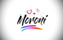 Moroni Welcome To Word Text mit Liebes-Herzen und kreativem handgeschriebenem Schriftart-Vektor lizenzfreie abbildung