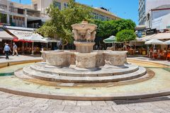 Morosini Fountain at Lions Square in Heraklion. Crete, Greece royalty free stock photos